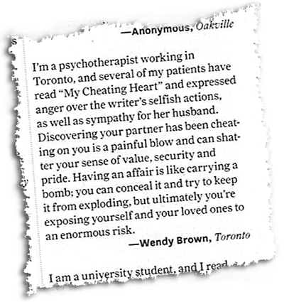 Toronto Life, April 2013, Letter to the Editor, by Wendy Brown